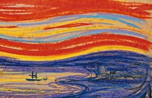 Edvard-Munch-Scream-red-sky-and-sail-boat-300x194